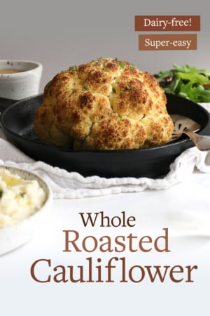 whole roasted cauliflower pin for pinterest