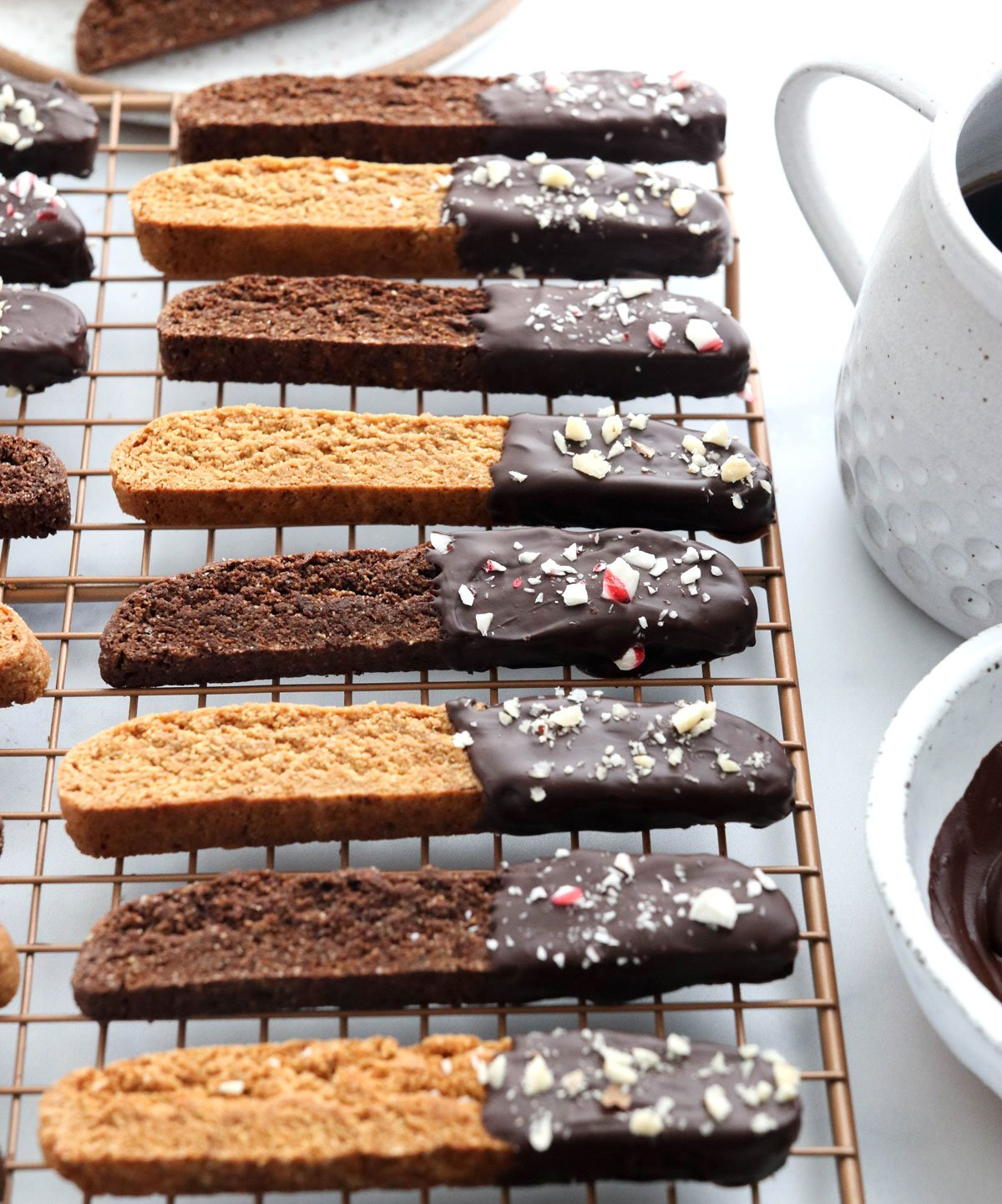 almond flour biscotti decorated on cooling rack