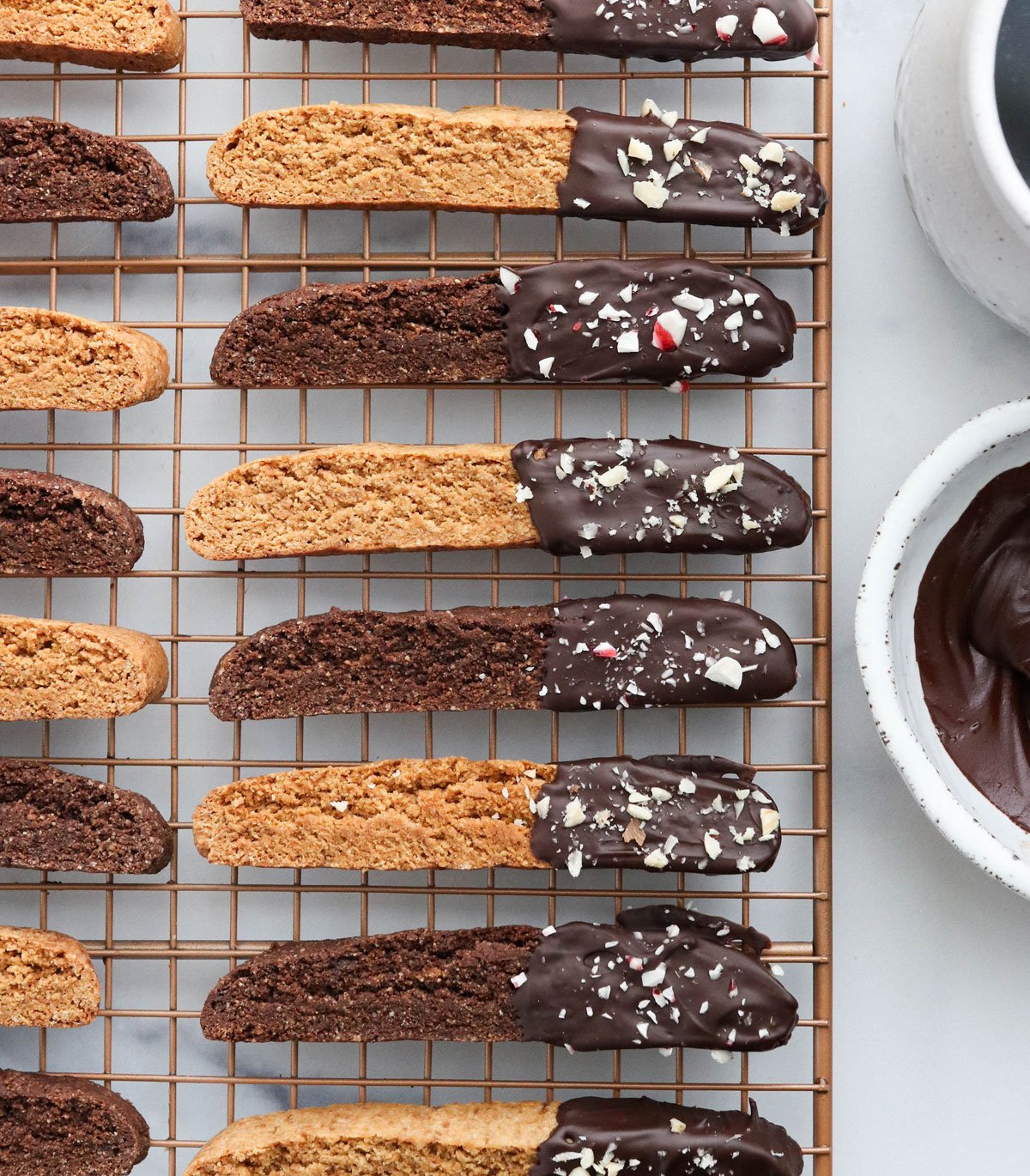 almond flour biscotti on cooling rack
