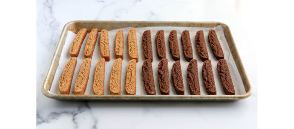 almond and chocolate biscotti finished on pan
