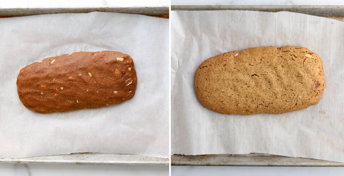 before and after baked biscotti log
