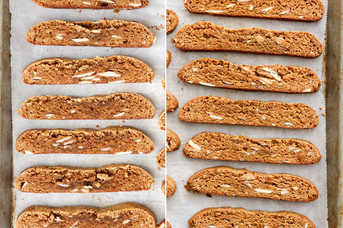 before and after baked biscotti slices on pan