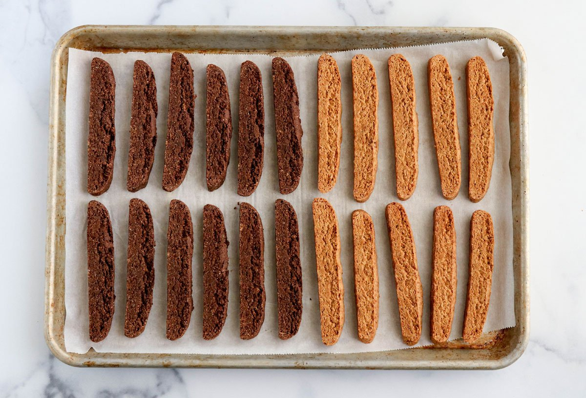 chocolate and almond biscotti slices on pan