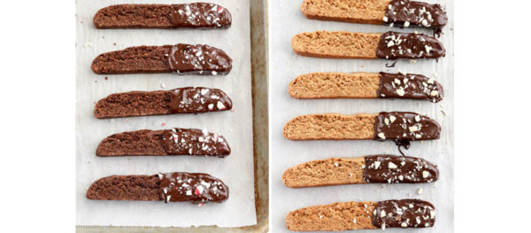 biscotti decorated with candy canes and nuts