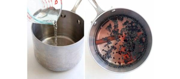 elderberry tea in saucepan