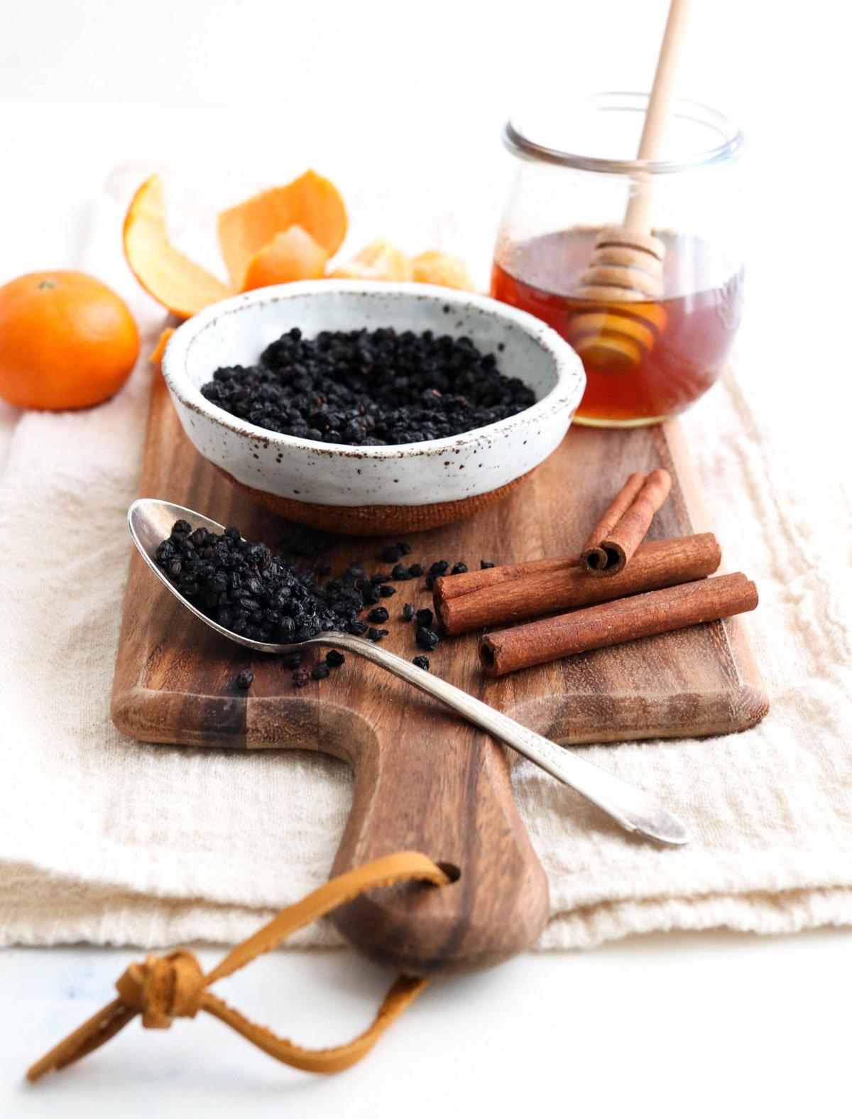 elderberry tea ingredients gathered