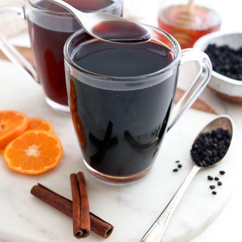 elderberry tea with spoon