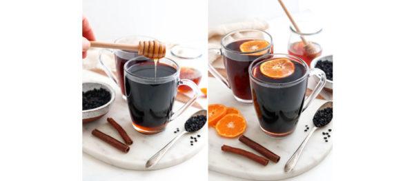 honey and orange slices added to tea