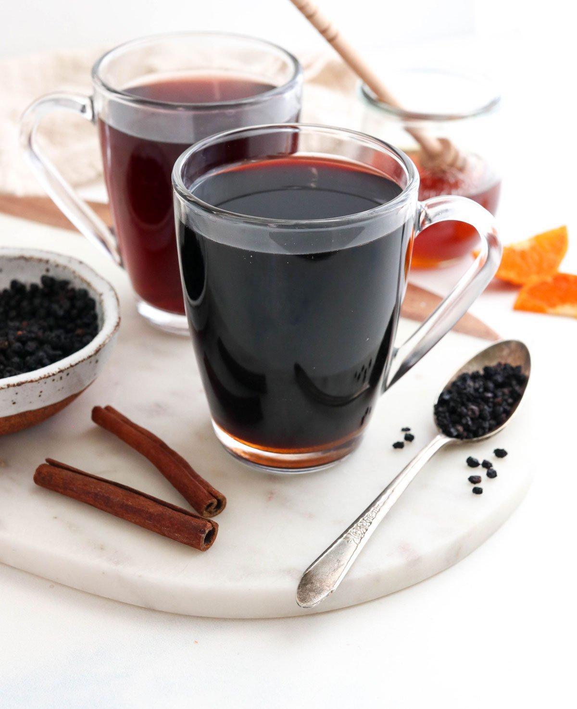 elderberry tea in two glasses