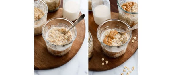 finished oats with milk and peanut butter added