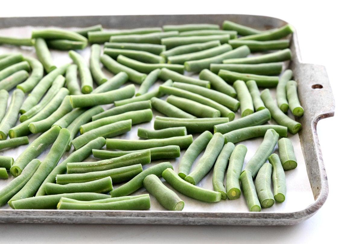 frozen green beans on pan