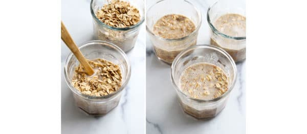 oats added and covered in liquid