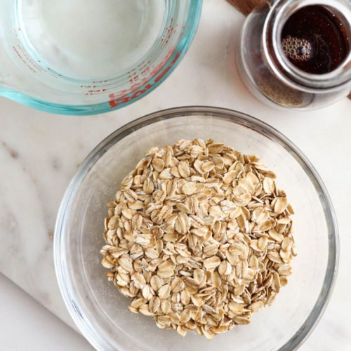 oat milk ingredients in glass bowls