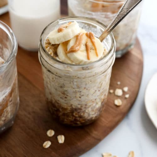 peanut butter overnight oats with banana on top