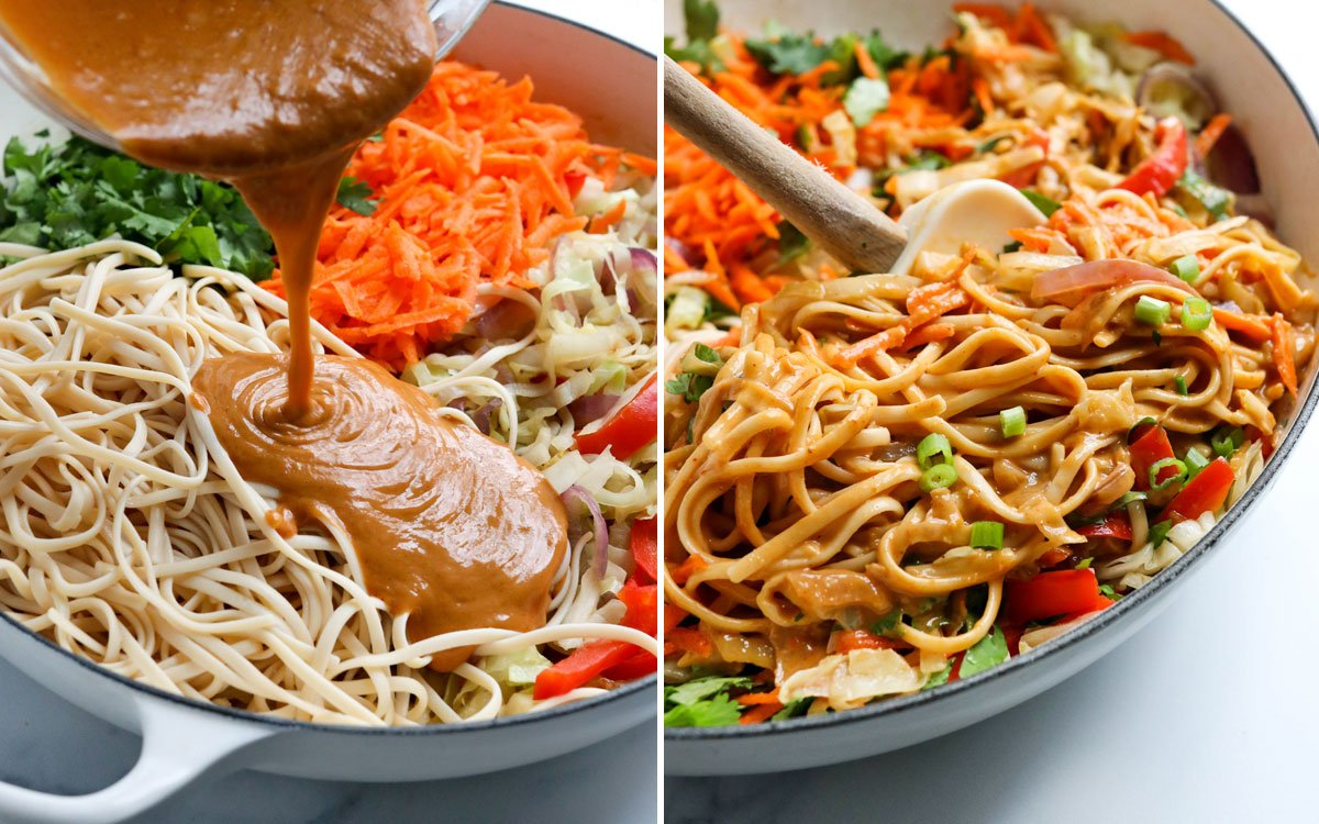 peanut sauce added to veggies and noodles