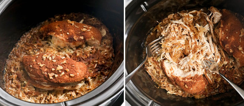 cooked chicken shredded in slow cooker