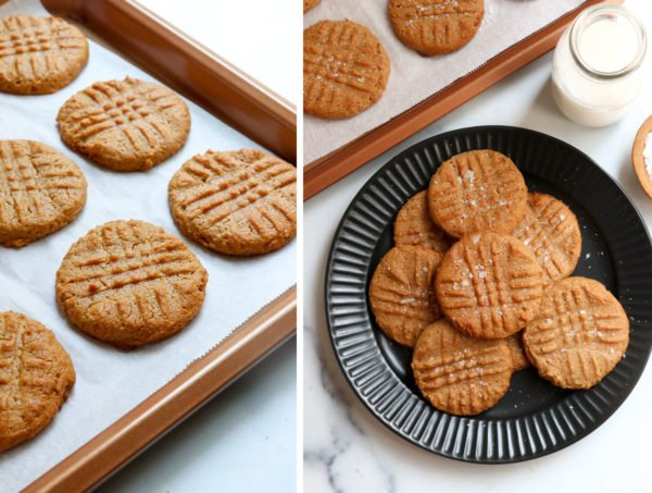 baked peanut butter cookies on pan and on plate