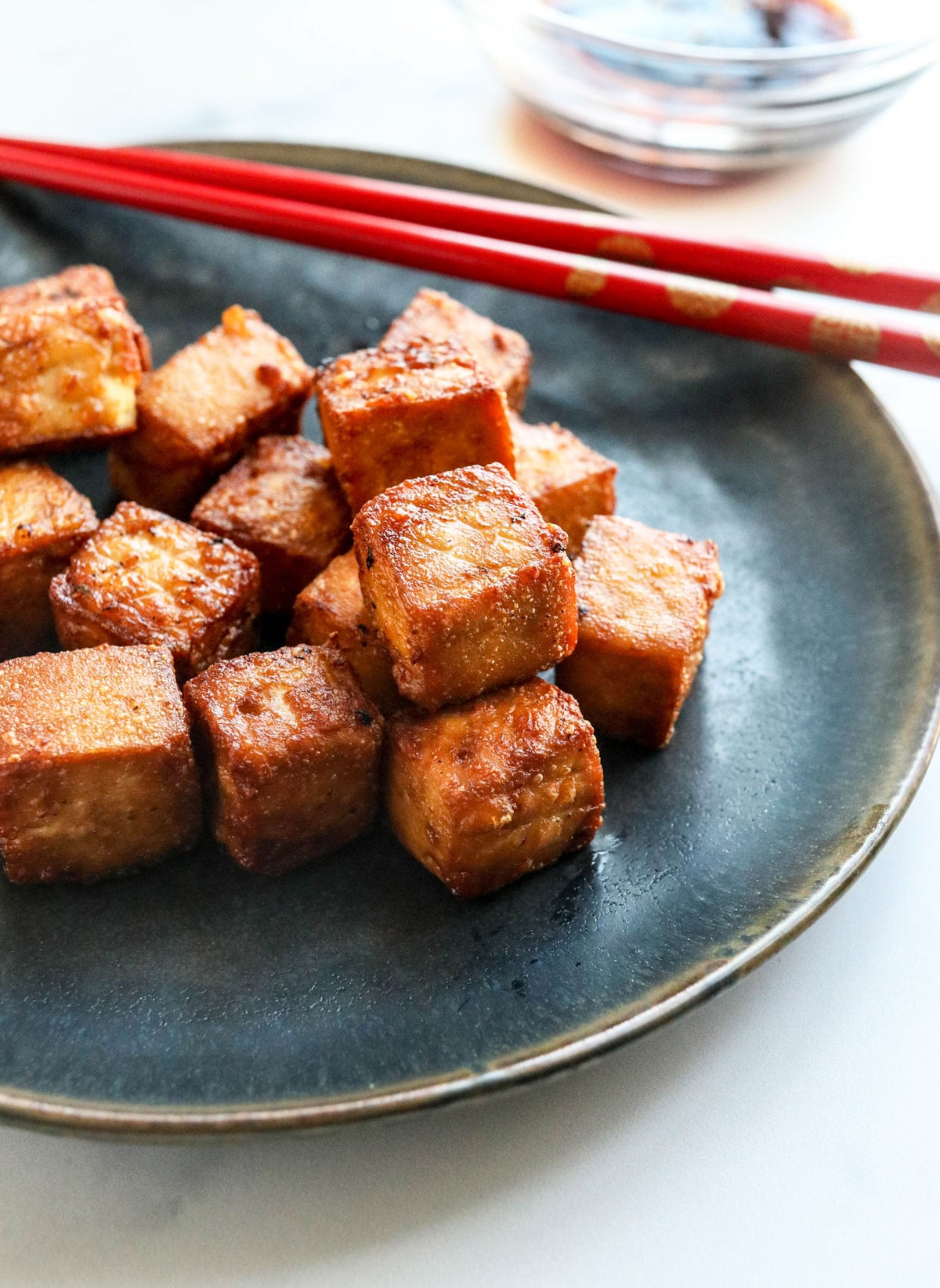 crispy tofu on plate