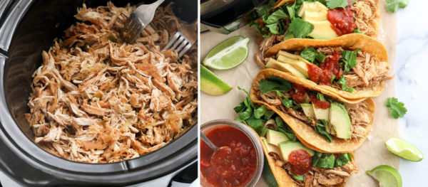 shredded chicken taco filling added to shells