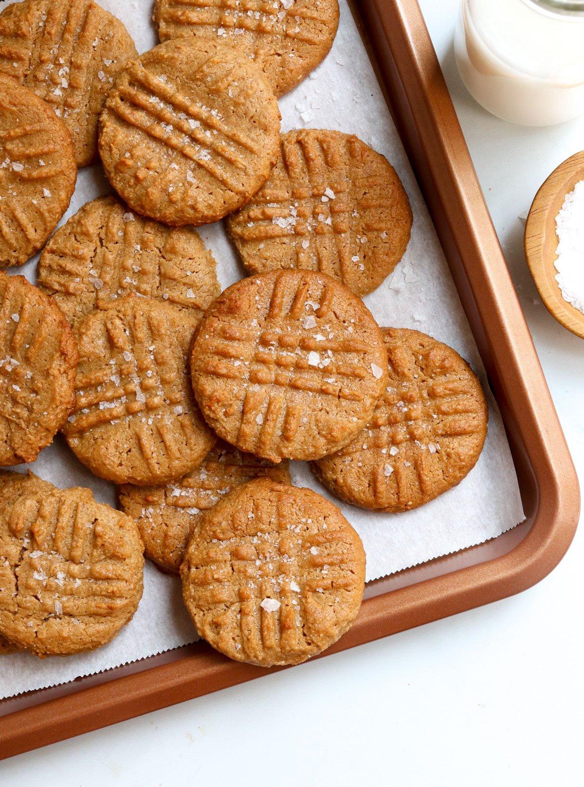 flourless peanut butter cookies on pan