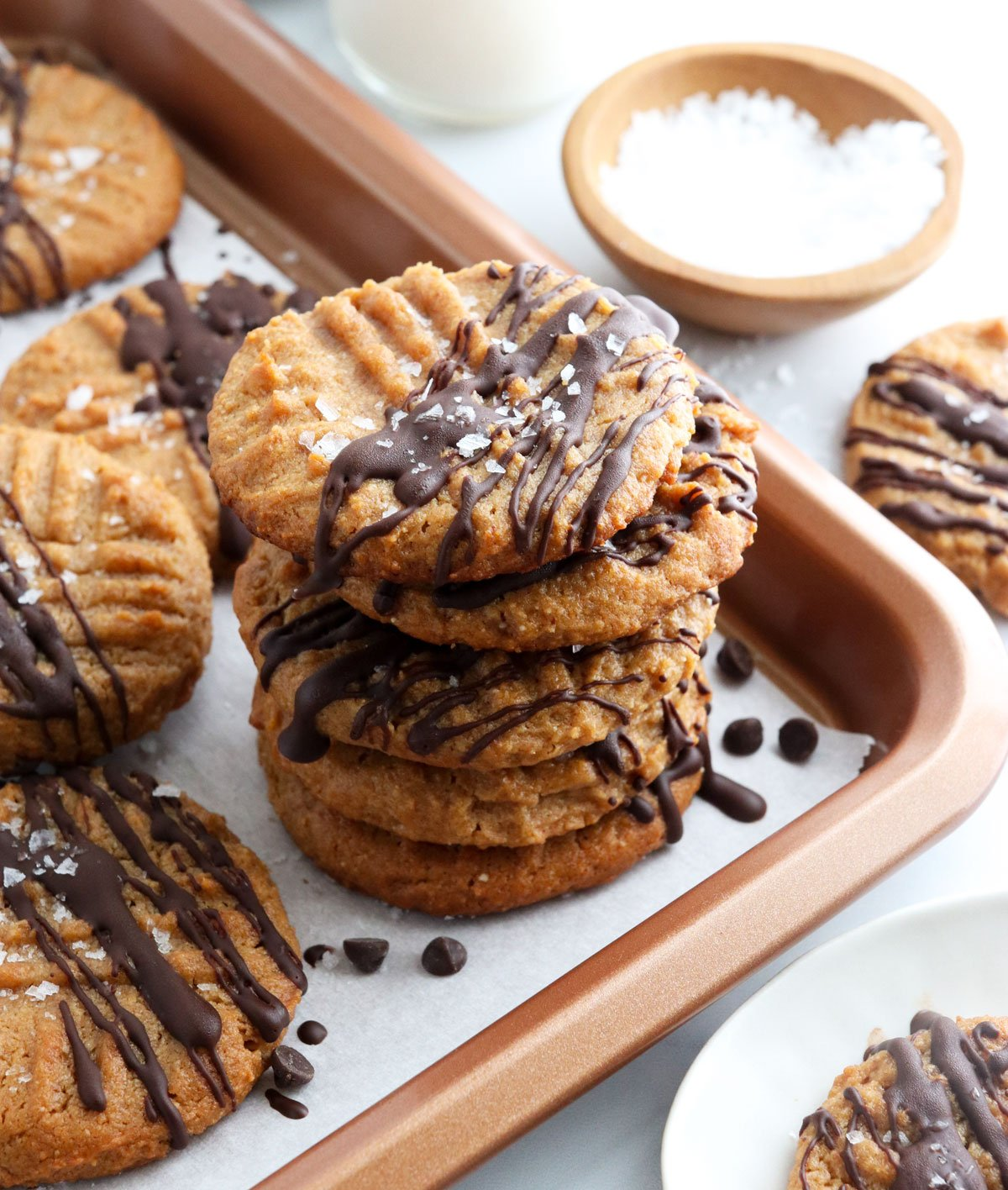 peanut butter chocolate cookies stacked