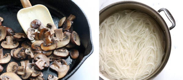 mushrooms and noodles cooked separately