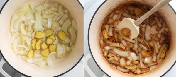 onions and ginger browned in pot