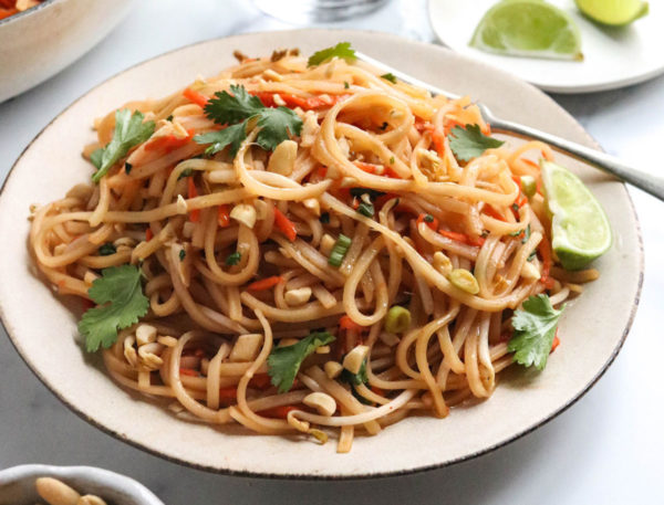 finished vegan pad thai noodles