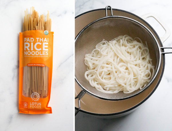 pad thai noodles in package and cooked