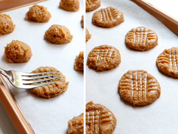 cookie dough flattened with fork in criss cross pattern