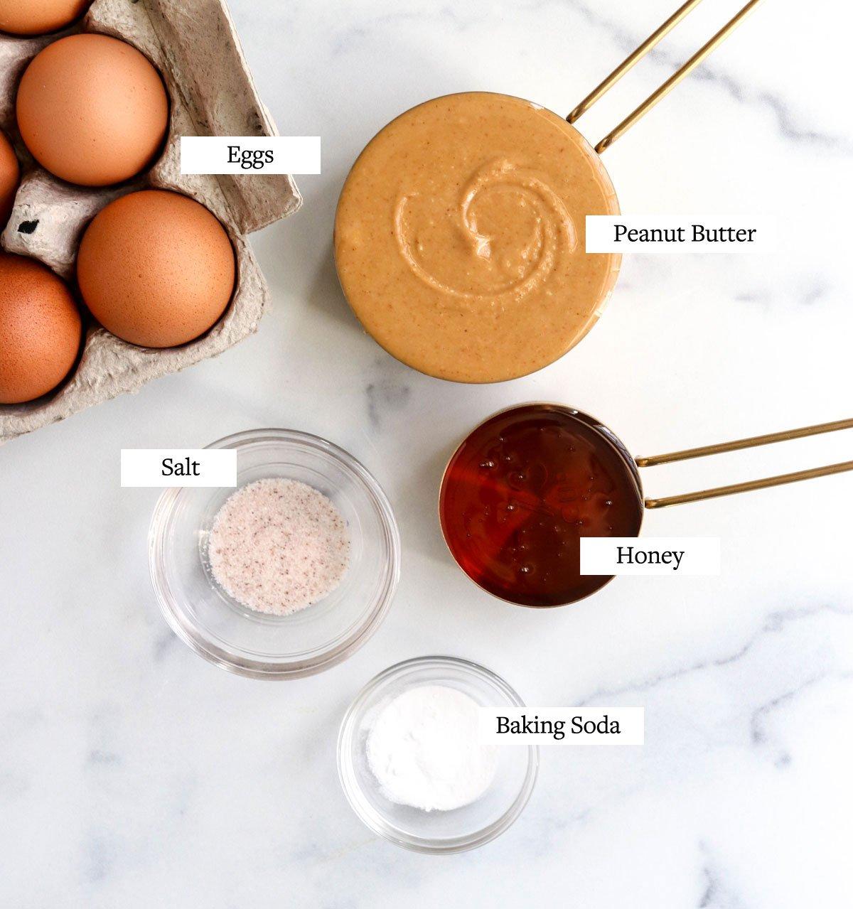 flourless cookie ingredients on marble
