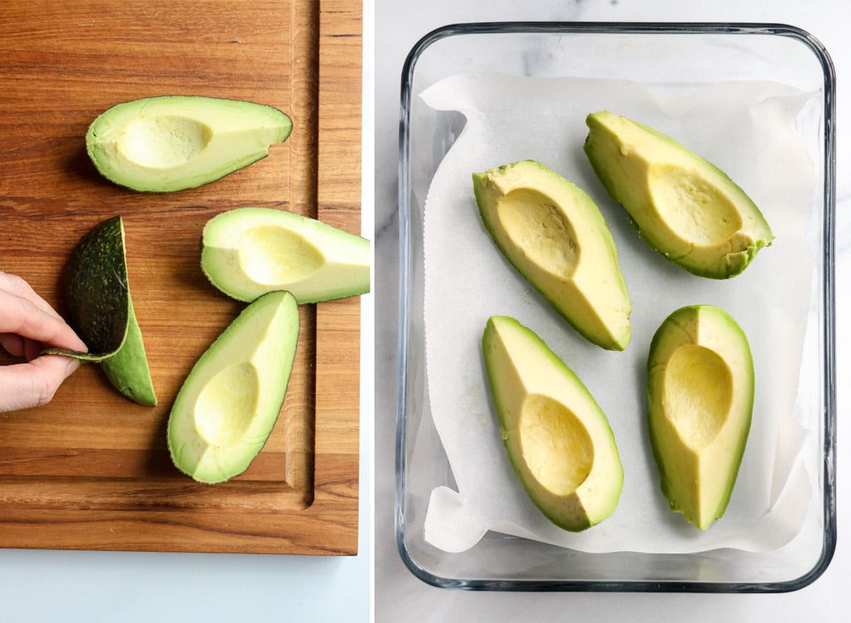 peeled avocado placed in container to freeze
