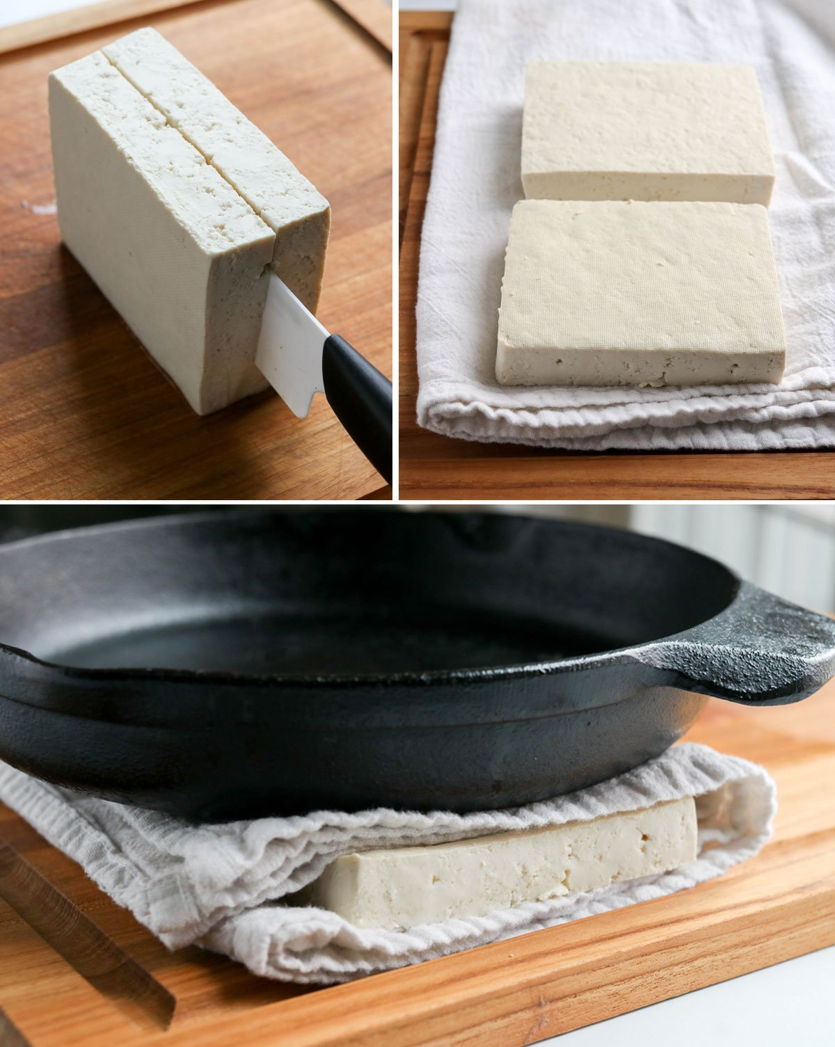 tofu sliced and pressed with skillet