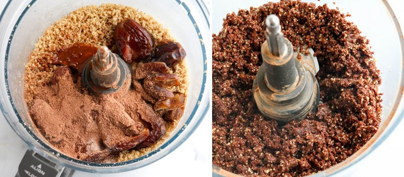 Dates and cacao powder processed in food processor