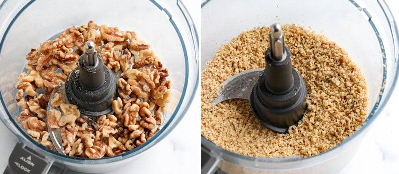 Walnuts ground in food processor