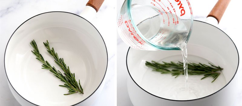 rosemary and water in pot