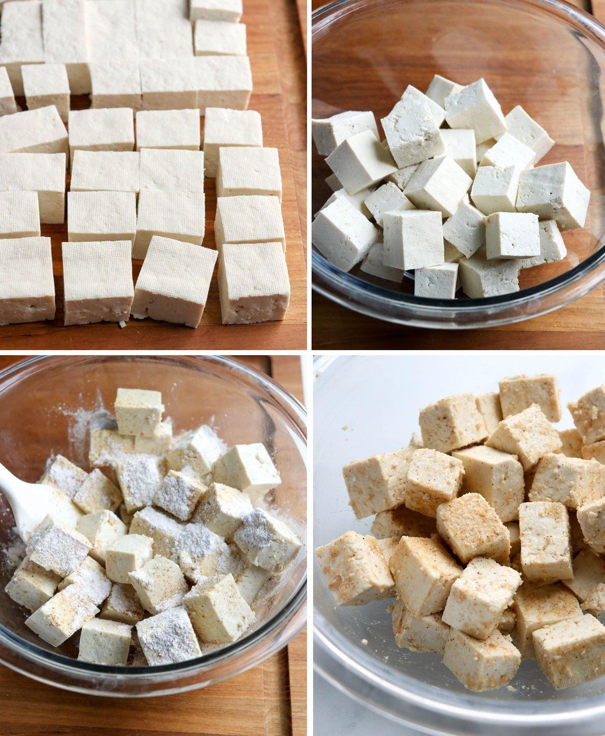 tofu cubes seasoned in bowl