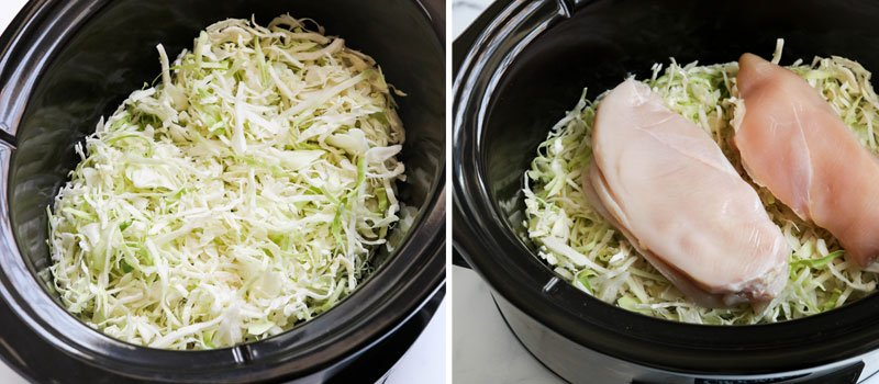 shredded cabbage with chicken on top