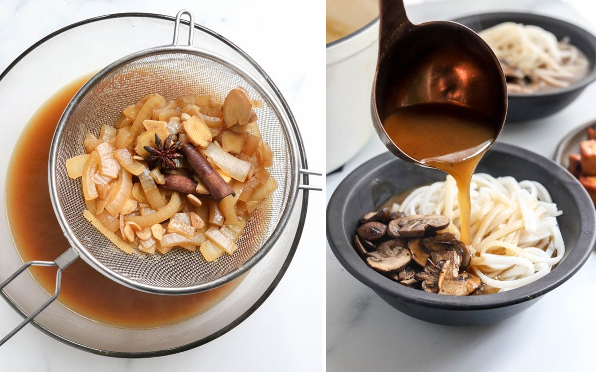 strained broth added to bowls of noodles and mushrooms