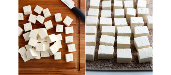 tofu cut into blocks on towel