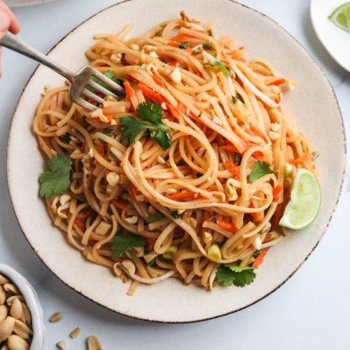 vegan pad thai noodles on plate