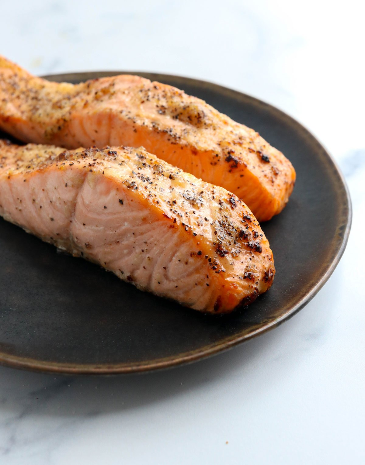 air fryer salmon on plate
