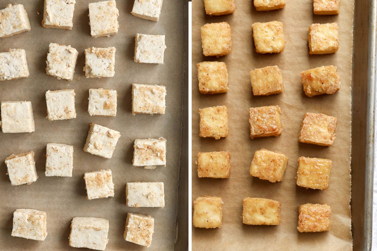 before and after baked tofu on pan