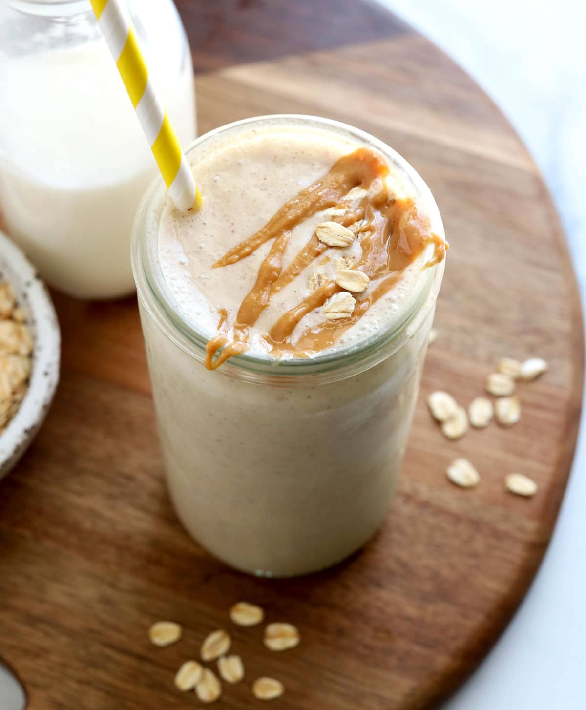 oatmeal smoothie on wood board