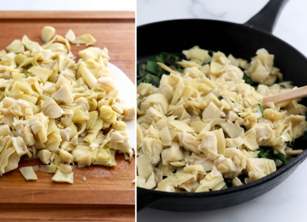 chopped artichokes added to skillet