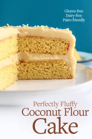 coconut flour cake pin for pinterest