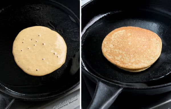 pancake with bubbles ready to flip