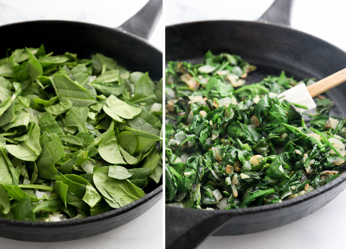 fresh and cooked spinach in skillet
