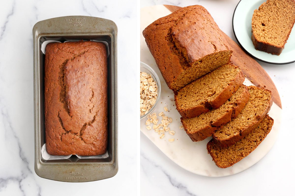 baked banana bread sliced
