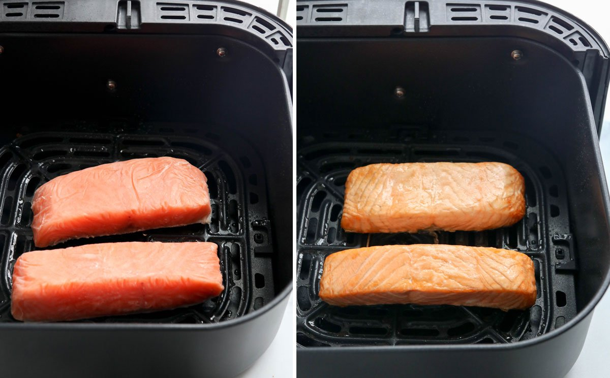 frozen salmon in air fryer basket